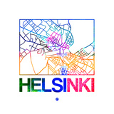 Helsinki Watercolor Street Map Prints by  NaxArt
