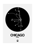 Chicago Black Subway Map Print by  NaxArt