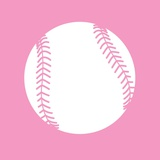 White Softball on Baby Pink Prints by  Sports Mania
