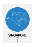 Singapore Blue Subway Map Posters by  NaxArt