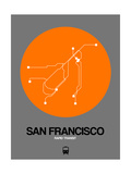 San Francisco Orange Subway Map Prints by  NaxArt