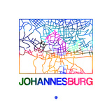 Johannesburg Watercolor Street Map Plakat af NaxArt