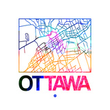 Ottawa Watercolor Street Map Posters by  NaxArt