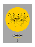 London Yellow Subway Map Gicléetryck på högkvalitetspapper av  NaxArt