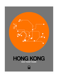 Hong Kong Orange Subway Map Gicléetryck på högkvalitetspapper av  NaxArt