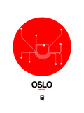 Oslo Red Subway Map Posters by  NaxArt