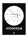 Stockholm White Subway Map Print by  NaxArt
