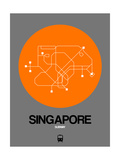 Singapore Orange Subway Map Prints by  NaxArt