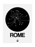 Rome Black Subway Map Art by  NaxArt