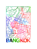 Bangkok Watercolor Street Map Prints by  NaxArt