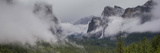 Valley with Mountains in Fog, Yosemite National Park, California, USA Photographic Print by  Panoramic Images