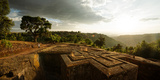 Elevated View of Church of Saint George, Lalibela, Ethiopia Fotografisk tryk af Panoramic Images,