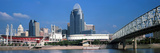 Bridge across a River with Skyscrapers in the Background, Ohio River, Cincinnati, Ohio, USA Photographic Print Panoramic Images