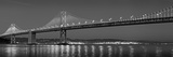 Suspension Bridge over Pacific Ocean Lit Up at Dusk, Bay Bridge, San Francisco Bay Photographic Print by  Panoramic Images