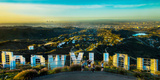 Friends Taking Pictures Behind the Hollywood Sign, City of Los Angeles, Los Angeles County Lámina fotográfica por Panoramic Images,