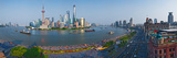 Elevated View of Skylines, Oriental Pearl Tower, the Bund, Pudong, Huangpu River, Shanghai, China Photographic Print by  Panoramic Images