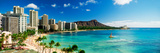 Hotels on the Beach, Waikiki Beach, Oahu, Honolulu, Hawaii, USA Fotografisk tryk af Panoramic Images,