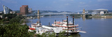 Boats in a River with a Suspension Bridge in the Background, Ohio River, Cincinnati, Ohio, USA Photographic Print by  Panoramic Images