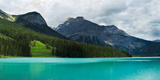Lake with Mountain Range in the Background, Emerald Lake, Yoho National Park, Golden Photographic Print by  Panoramic Images
