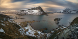 Surroundings of Offersoykamen at Sunset, Lofoten, Nordland, Norway Photographic Print by  Panoramic Images