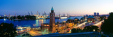 Elevated View of the St. Pauli Piers and Port of Hamburg, Elbe River, Hamburg, Germany Fotografiskt tryck av Panoramic Images,
