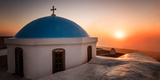 Church at Sunrise, Pyrgos Village, Santorini, Cyclades, Greek Islands, Greece, Europe Photographic Print by Karen Deakin