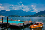 Floating Pool at Grand Hotel Tremezzo, Lake Como, Lombardy, Italy, Europe Photographic Print by Laura Grier