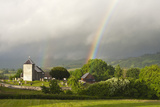 A Rainbow over St. David's Church in the Tiny Welsh Hamlet of Llanddewir Cwm, Powys, Wales Photographic Print by Graham Lawrence