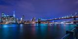 Brooklyn Bridge and Manhattan Skyline at Dusk, New York City, New York Photographic Print by Karen Deakin