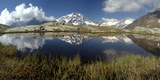 Panorama of Mount Disgrazia Reflected in the Lake Vazzeda, Alpe Fora, Malenco Valley Photographic Print by Roberto Moiola
