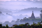 Stupas (Zedis) in the Morning Mist, Mrauk U, Rakhaing State, Myanmar (Burma), Asia Photographic Print by Nathalie Cuvelier