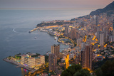 View of Monaco from Above at Dusk, Monaco, Mediterranean, Europe Photographic Print by Frank Fell