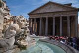 Piazza Della Rotonda and the Pantheon, UNESCO World Heritage Site, Rome, Lazio, Italy, Europe Photographic Print by Frank Fell