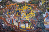 Murals Depicting Scenes from the Ramakien, Temple of the Emerald Buddha (Wat Phra Kaew) Photographic Print by Jason Langley