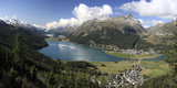Panoramic View of Lakes Silvaplana and Surley, Julier Pass, Engadine Photographic Print by Roberto Moiola