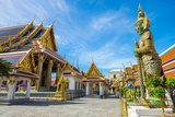 Yaksha Thotsakhirithon Statue in Front of Phra Ubosot, Temple of the Emerald Buddha (Wat Phra Kaew) Photographic Print by Jason Langley