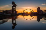 Sunrise at the Clyde Arc (Squinty Bridge), Pacific Quay, Glasgow, Scotland, United Kingdom, Europe Photographic Print by Karen Deakin