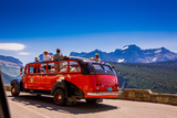 Vintage Tour Bus on the Sun Road, Glacier National Park, Montana Photographic Print by Laura Grier