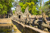 West Gate and Naga Bridge at Prasat Preah Khan Temple Ruins, Angkor, UNESCO World Heritage Site Photographic Print by Jason Langley