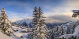 Panorama of Snowy Woods and Mountain Huts Framed by Sunset, Bettmeralp, District of Raron Photographic Print by Roberto Moiola