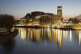 Royal Shakespeare Theatre Lit Up at Dusk Beside River Avon, Stratford-Upon-Avon, Warwickshire Photographic Print by Stuart Black