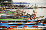 Brightly Coloured Boats at the U Bein Bridge, Taungthaman Lake, Amarapura Near Mandalay Photographic Print by Craig Easton