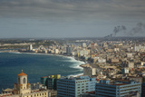 Elevated View over the City and the Malecon Waterfront, Havana, Cuba, West Indies, Caribbean Photographic Print by Yadid Levy