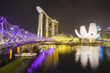 Helix Bridge, Marina Bay Sands and Artscience Museum Illuminated at Night, Marina Bay Photographic Print by Fraser Hall
