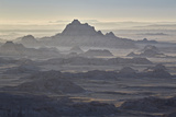 Badlands Layers on a Hazy Morning, Badlands National Park, South Dakota Photographic Print by James Hager