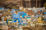 Mehrangarh Fort Towering over the Blue Rooftops in Jodhpur, the Blue City, Rajasthan, India, Asia Photographic Print by Laura Grier