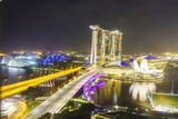 Busy Roads Leading to the Marina Bay Sands, Gardens by the Bay and Artscience Museum at Night Photographic Print by Fraser Hall