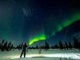 Aurora Borealis (The Northern Lights) over Kakslauttanen Igloo West Village, Saariselka, Finland Photographic Print by Laura Grier