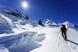 Ski Tourer on Mont Blanc, Chamonix, Rhone Alpes, Haute Savoie, French Alps, France, Europe Photographic Print by Christian Kober