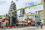 Sri Mariamman Temple and Masjid Jamae (Chulia) Mosque in South Bridge Road, Chinatown, Singapore Photographic Print by Fraser Hall